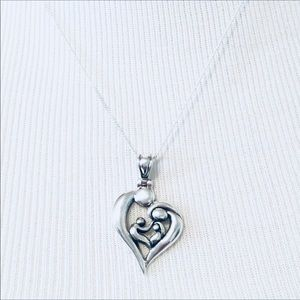Valentines Day Family Heart Pendant Necklace 925